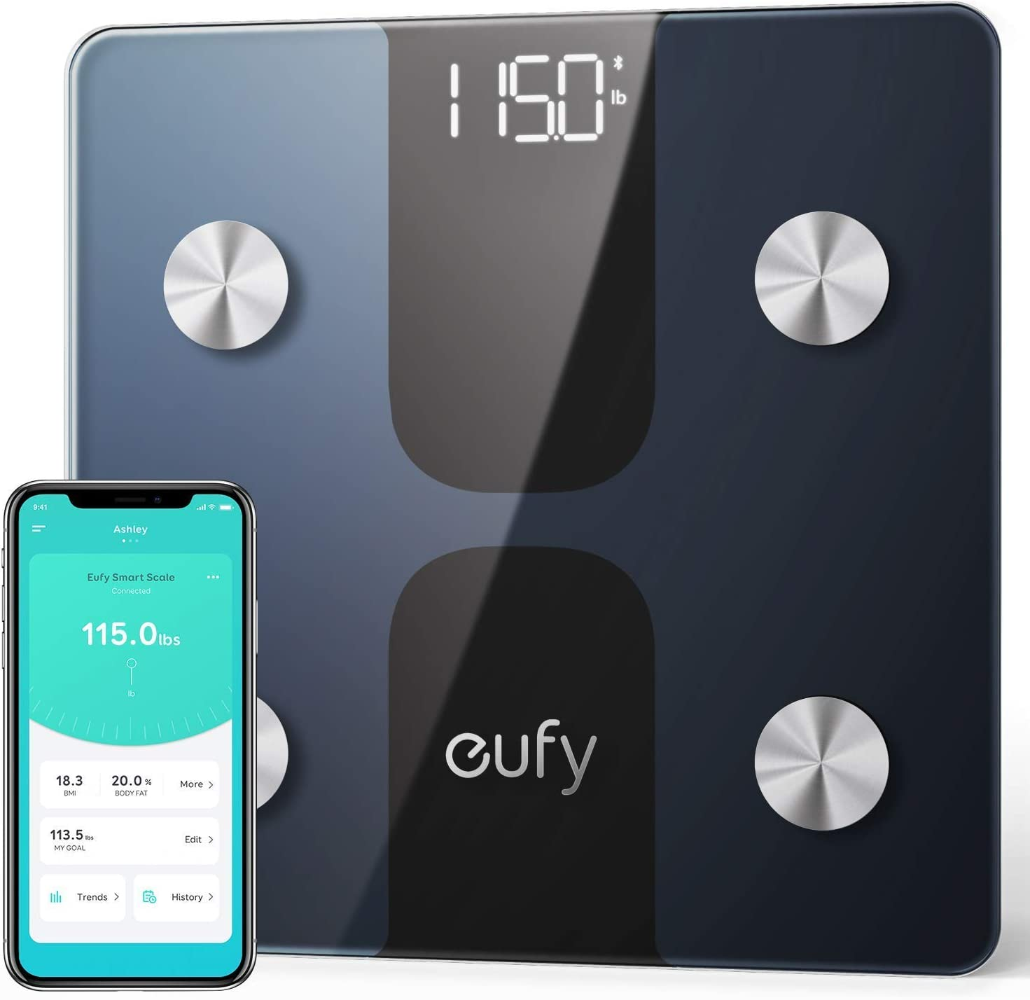 eufy Smart Scale C1 with Bluetooth, Body Fat Scale, Wireless Digital Bathroom Scale, 12 Measurements, Weight/Body Fat/BMI, Fitness Body Composition Analysis, Black/White, lbs/kg