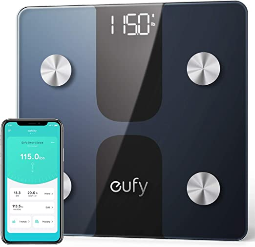 Amazon.com: eufy Smart Scale C1 with Bluetooth, Body Fat Scale, Wireless Digital Bathroom Scale, 12 Measurements, Weight/Body Fat/BMI, Fitness Body Composition Analysis, Black/White, lbs/kg: Health & Personal Care