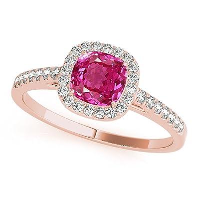 Amazon.com: 1.10 ct. TTW con forma de diamantes y cojín rosa ...
