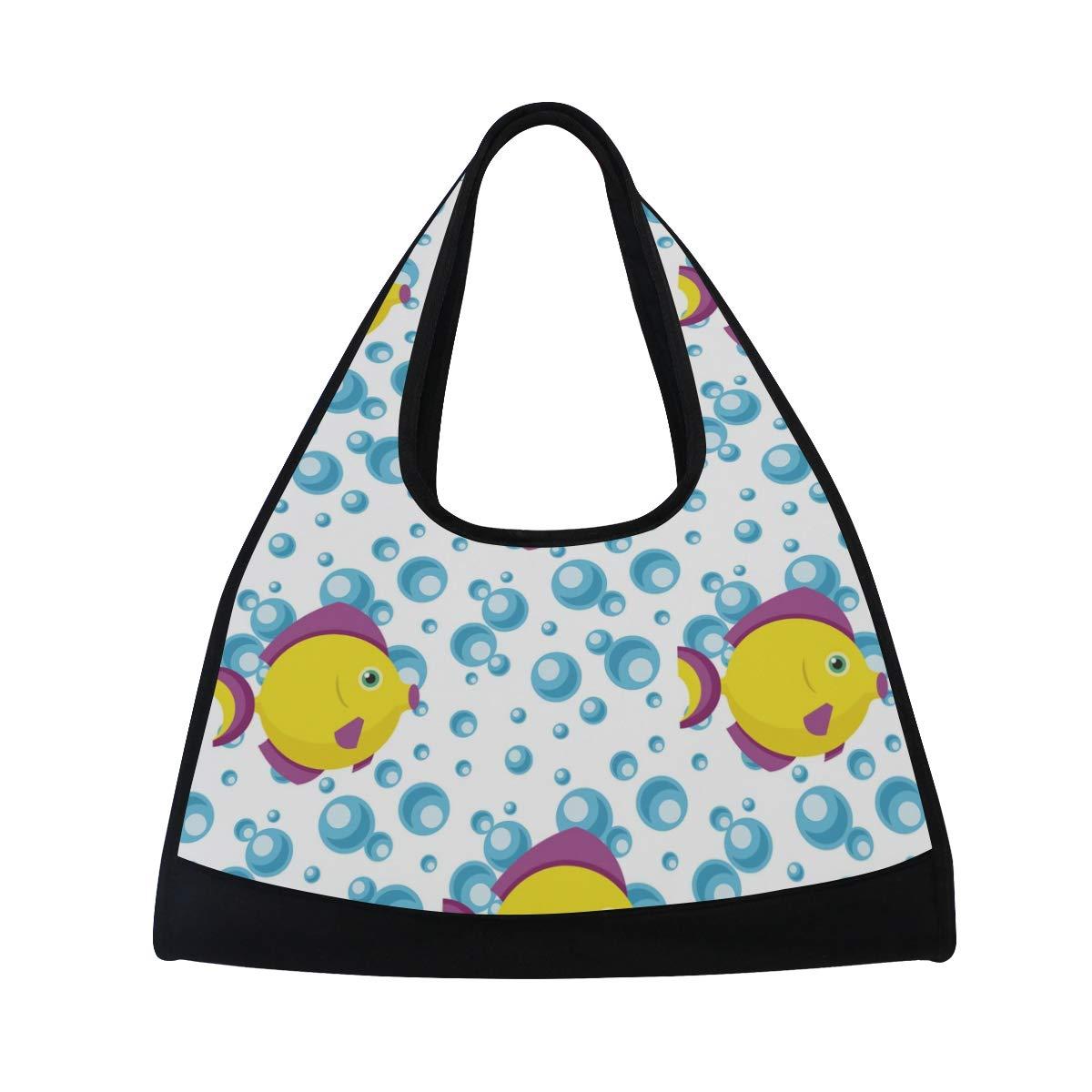 Unisex Travel Duffels Gym Bag Sea Fish Shell Canvas Weekender Bag Shoulder Bag Totes bags