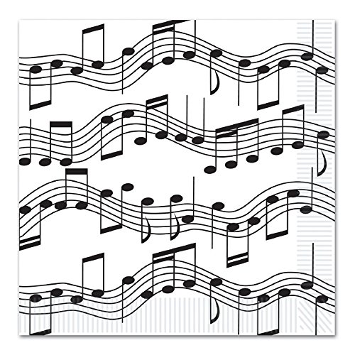 (Club Pack of 192 Black and White Musical Notes Disposable 2-Ply Luncheon)