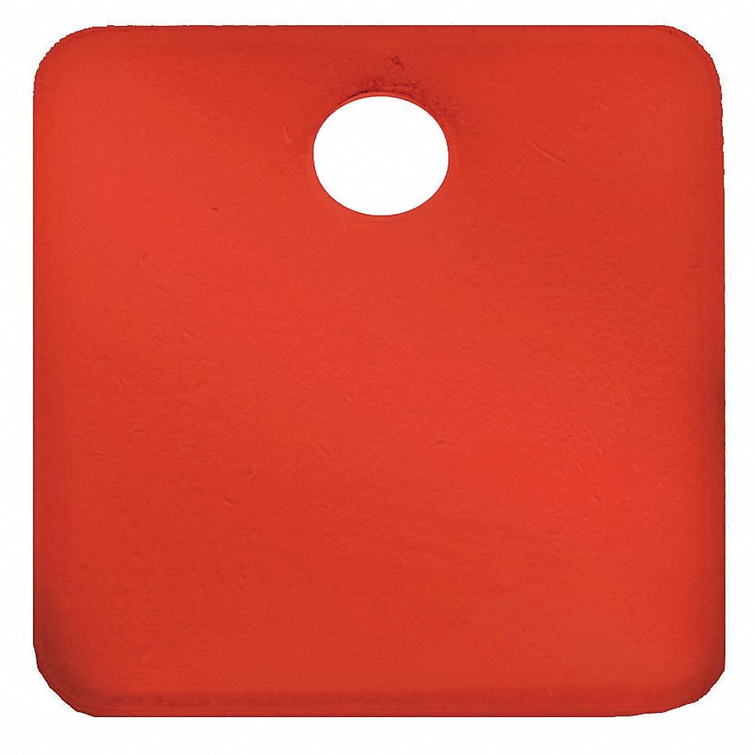 Red Blank Tag, Aluminum, Square, 1-1/4'' Height, 5 PK