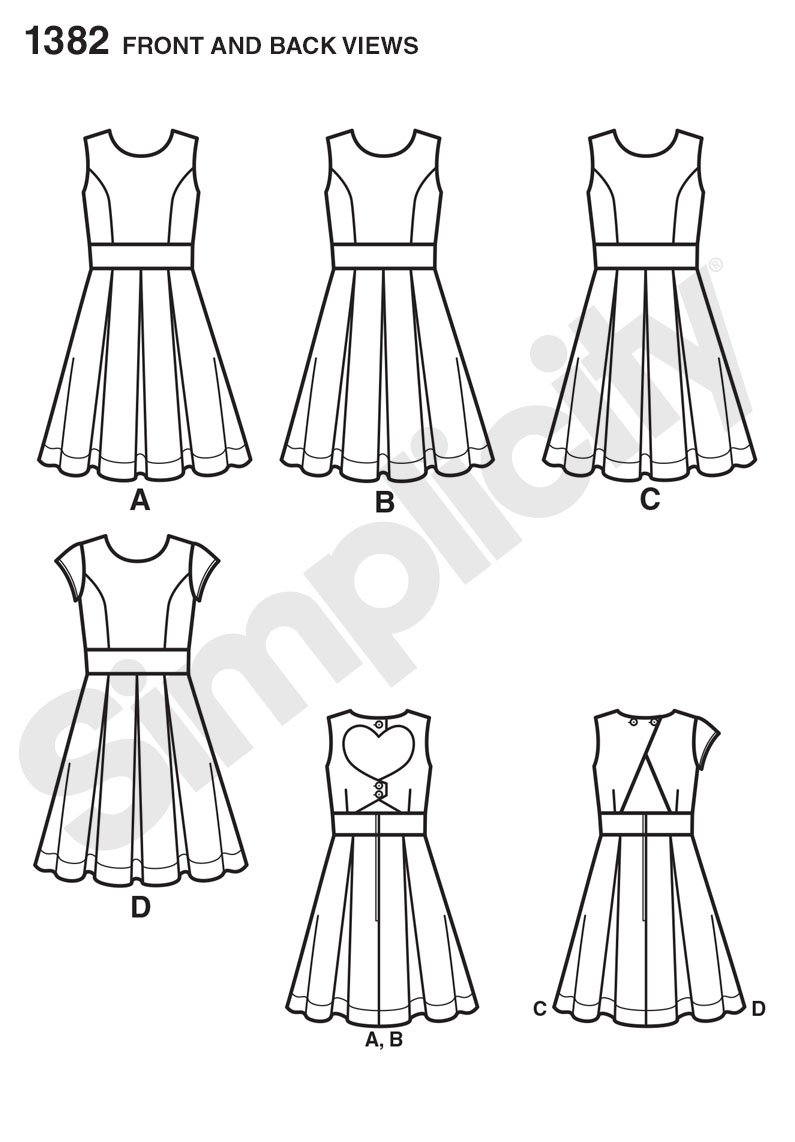 ea512819bd5 Amazon.com  Simplicity Pattern 1382 Girls Plus Dress with Back Variations  Sizes 8 1 2-16 1 2