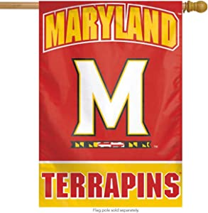 WinCraft Maryland Terrapins Vertical Flag, M Logo with State of Maryland Graphics 28 x 40 inches, 1 Sided