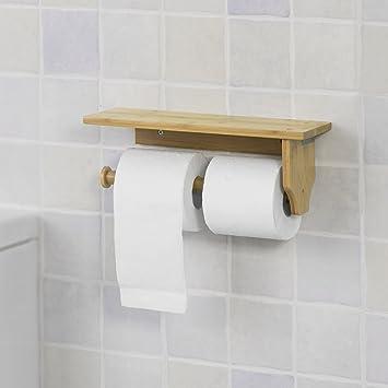SoBuy® FRG253-N Toilettenpapierhalter mit Ablage zur Wandmontage ...