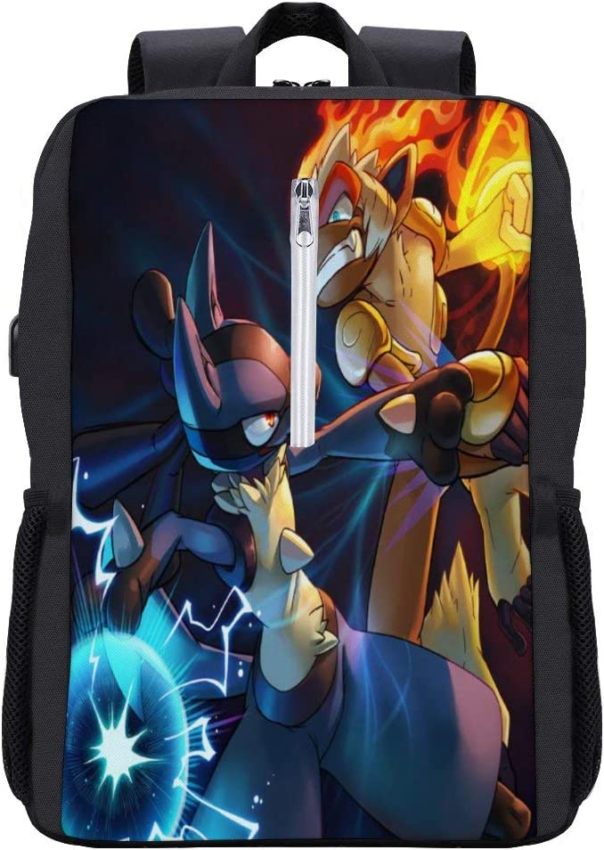 Poke-mon School bookbag,Infernape Lucario,Laptop Backpack 15.6 Inch with USB Charging,Stylish Business College Travel Casual Daypack for boys and girls
