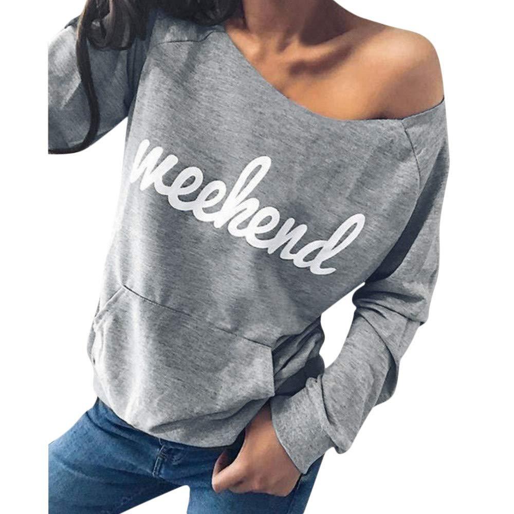 Leoy88 Womens Letter Printed Strapless Sweatshirt Pocket Long Sleeve Pullover Blouse