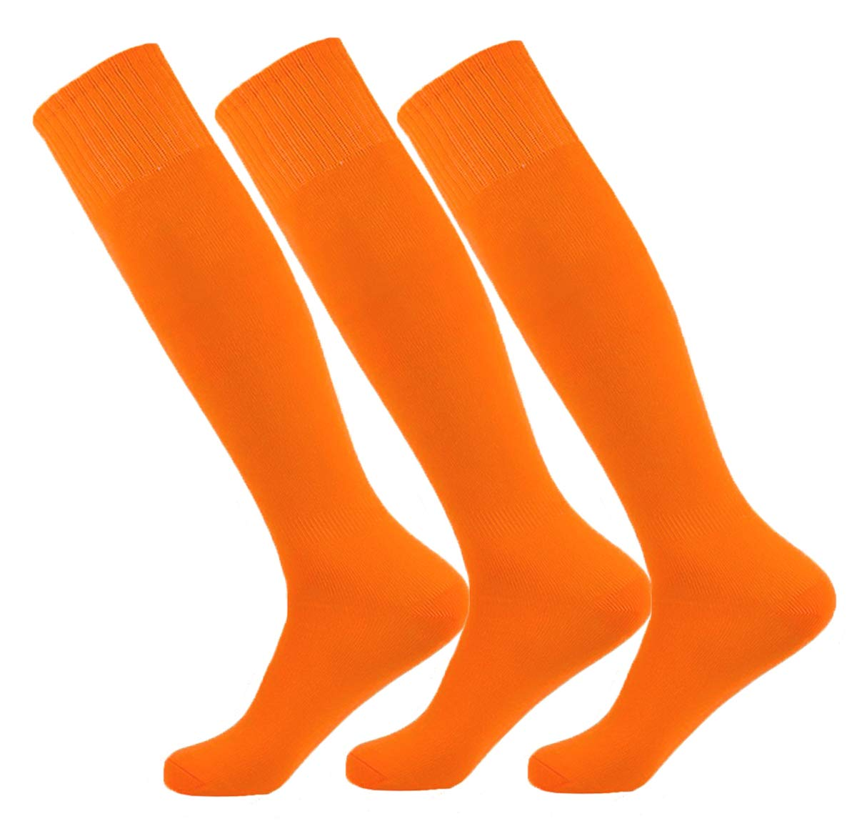 Orange Large Performance Moisture Wicking Knee High Sports Socks for Baseball/Soccer/Lacrosse (3Pairs-Red/Or by MOAIR