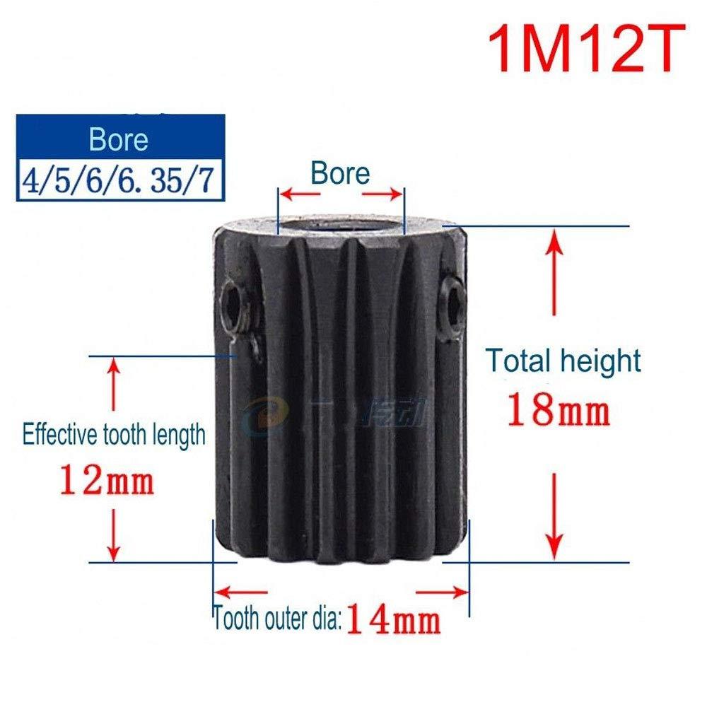High Precision 1 Mod 18T Spur Gear 45# Steel Heavy Duty Pinion Gear 8mm Bore With Step x 1Pcs Bore: 8mm; Step Diameter: 16mm, 1M18T