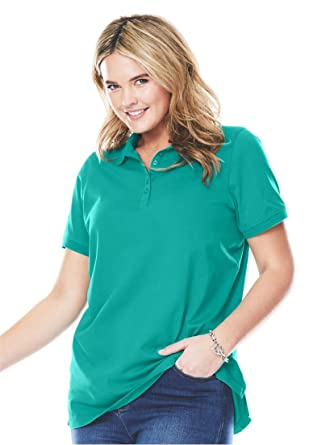 Women's Plus Size Top, Perfect Polo Short-Sleeve T-Shirt at Amazon ...