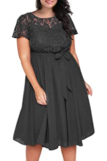 29b1624f48e8e Nemidor Women s Scooped Neckline Floral lace Top Plus Size Cocktail Party  Midi Dress