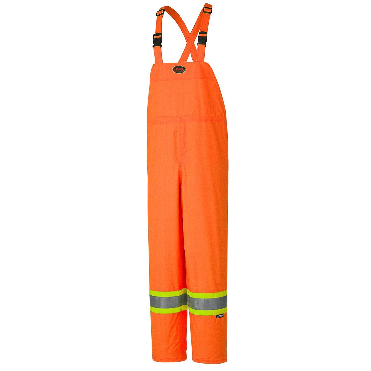Pioneer V1090250-M Lightweight Waterproof Work Bib Pants, Boot Access Zippers, Men, Hi-Vis Orange, M