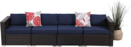 PHI VILLA 4 Piece Patio Outdoor Furniture Sectional Sofa Set, Low Back All-Weather Wicker Rattan Couch Conversation Set with Navy Blue Cushions
