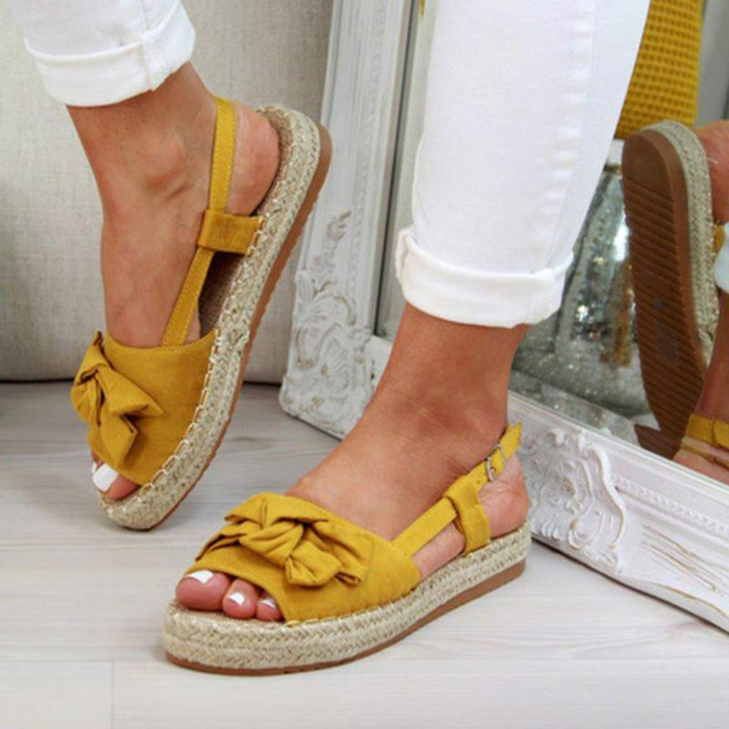 ✔ Hypothesis_X ☎ Women's Double Strap Cork Sole Slide Sandal Peep Toe Butterfly Knot Buckle Strap Sandals Yellow by ✔ Hypothesis_X ☎ Shoes (Image #4)
