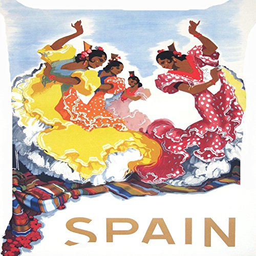 Cushion cover throw pillow case 18 inch Spanish girls national costume flamenco dance cute dancers traditional dance both sides image (Girls Spanish Flamenco Dancer Costume)