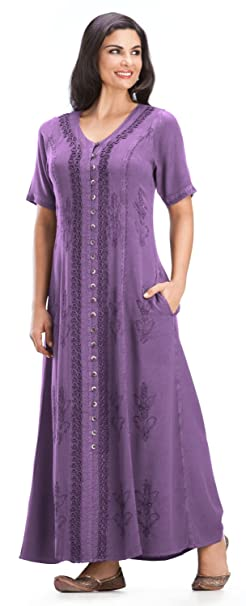 ca9e1d483c3 HolyClothing Eleanor Embroidered Button Front Dress - 4X-Large - Purple  Passion