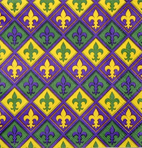 Mardi Gras Napkins (Luncheon, 16 Pack, Fleur di Lis, Purple, Yellow, Green) Mardi Gras Party Collection by Havercamp