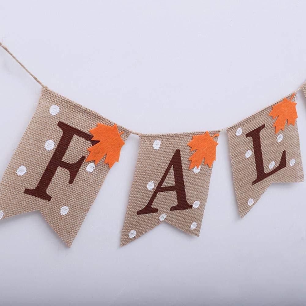 Dire-wolves Linen Bunting,Autumn Maple Leaf Pattern Hessian Flag Banner For Party Christmas Birthday Wedding Bridal Shower Favor Decoration