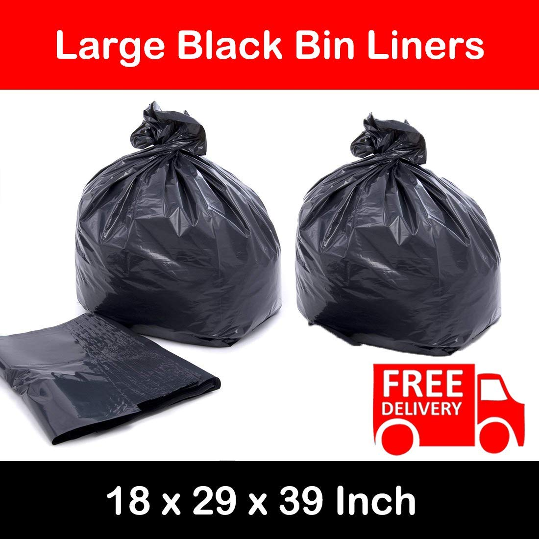 BLACK HEAVY DUTY LARGE REFUSE BAGS SACKS BIN LINERS RUBBISH 18x29x39 INCH BULK (250) Elite-Packaging