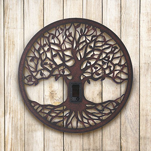 Exhart Solar Tree of Life Wall Art, Folk Art, Americana, Solar Powered, Metal, Indoors and Outdoors