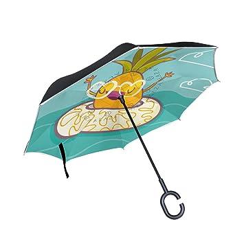 FOLPPLY Paraguas invertido Funny Piña con Lifebuoy,Paraguas Reversible de Doble Capa Impermeable para Coche