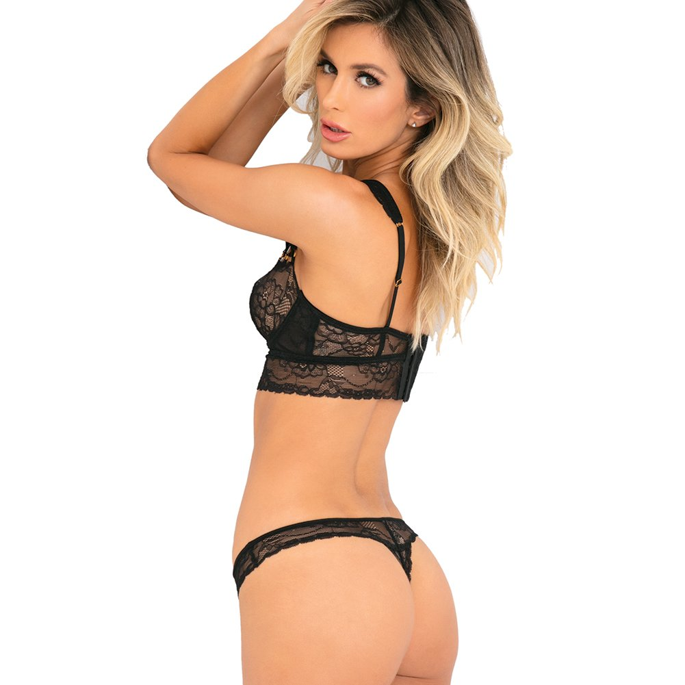 3bb66330334 Amazon.com  Women s Flawless Soft Balconette Lace Cups Longline Bra    Crotchless Panty Set  Clothing
