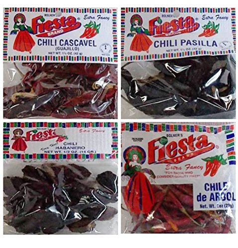 Bolner's Fiesta Extra Fancy Dried Chili Pods 4 Flavor Variety Bundle: (1) Cascavel (Guajillo) Chili Pods, (1) Habanero (Very Hot!) Chili Pods, (1) Pasilla Chili Pods, and (1) Chile de Arbol Chili Pods, .5-1.5 Oz. Ea.