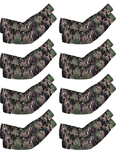 Mudder 8 Pairs Unisex UV Protection Arm Cooling Sleeves Ice Silk Arm Cover(Camouflage)