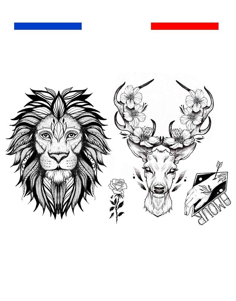 Tatuaje Temporal León y ciervo artista Emy Linked Tattoo: Amazon ...