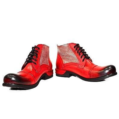 Modello Quecello - Cuero Italiano Hecho A Mano Hombre Piel Rojo Botas Bajas Botines - Cuero Cuero Pintado a Mano - Encaje: Amazon.es: Zapatos y complementos