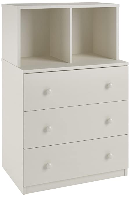 Ameriwood Home Skyler 3 Drawer Dresser With Cubbies White