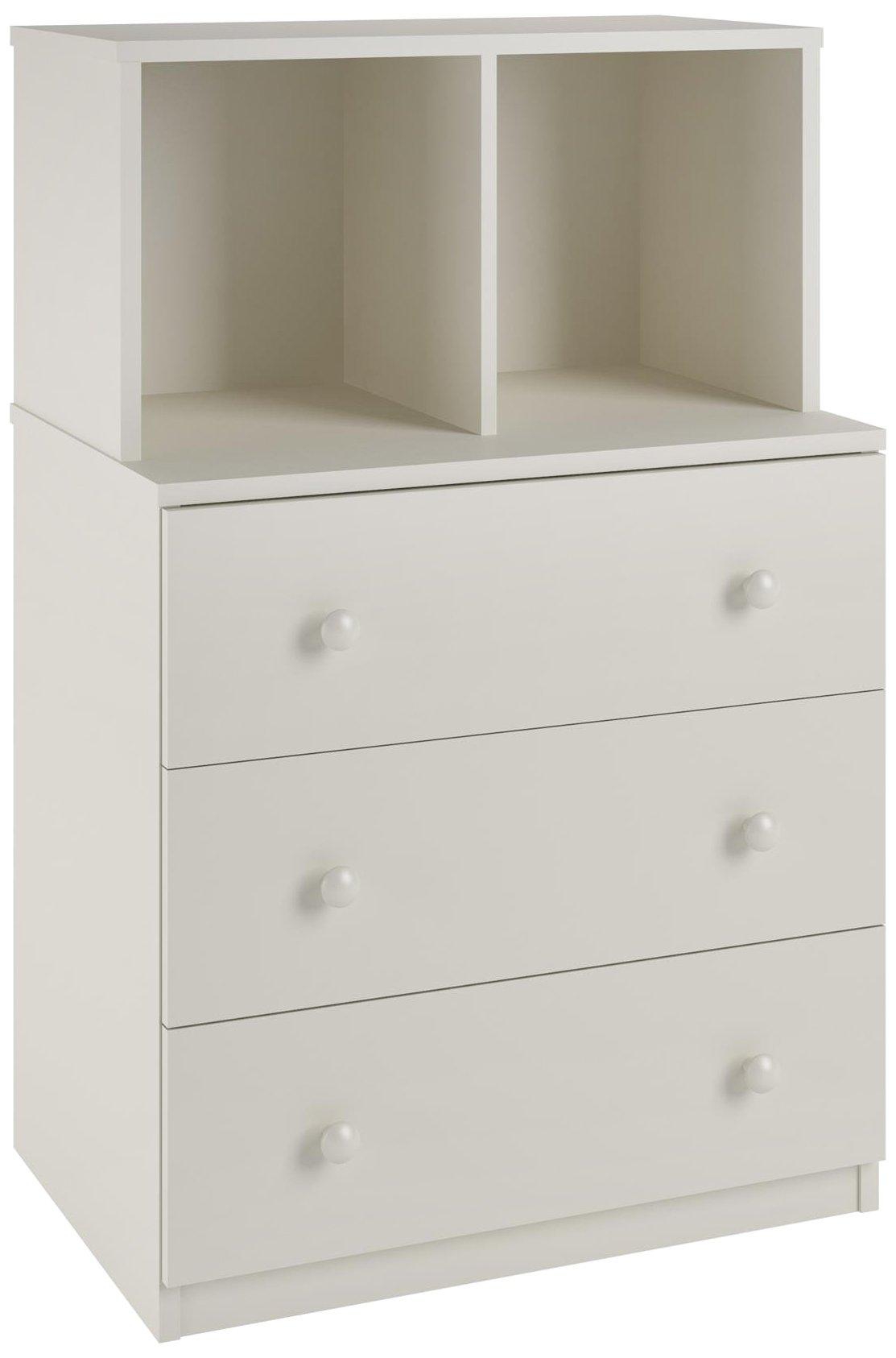 Ameriwood Home Skyler 3 Drawer Dresser with Cubbies, White