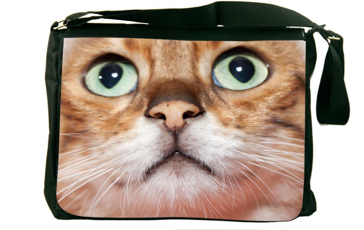 Rikki Knight Orange Tabby Cat Close-up with Green Eyes Messenger Bag School Bag