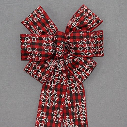 Buffalo Plaid Snowflake Christmas Wreath Bow - available in 2 sizes (Buffalo Snowflake)