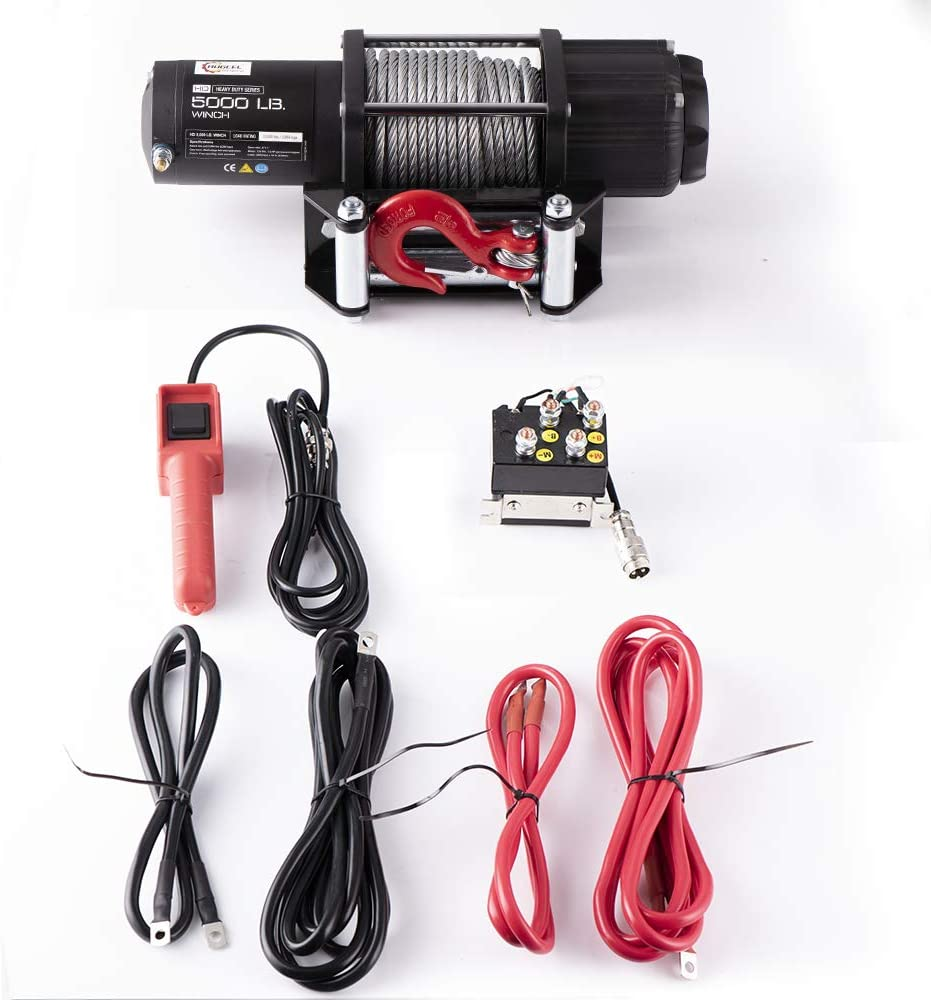 1 Wired Handle and 2 Wireless Remote Synthetic Rope Synthetic Cable Winch - 5000 lb. Load Capacity RUGCEL Winch 5000 lb Waterproof Winch ATV//UTV Electric Winch Kit with Hawse Fairlead