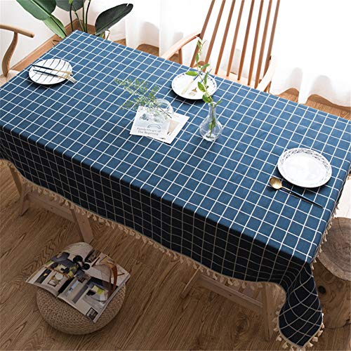 lym1108 Embroidered Checkered Fringed Tablecloth Heavy Cotton Linen Plaid Dustproof Table Cover Kitchen Table Top Decoration One Color 6060Cm