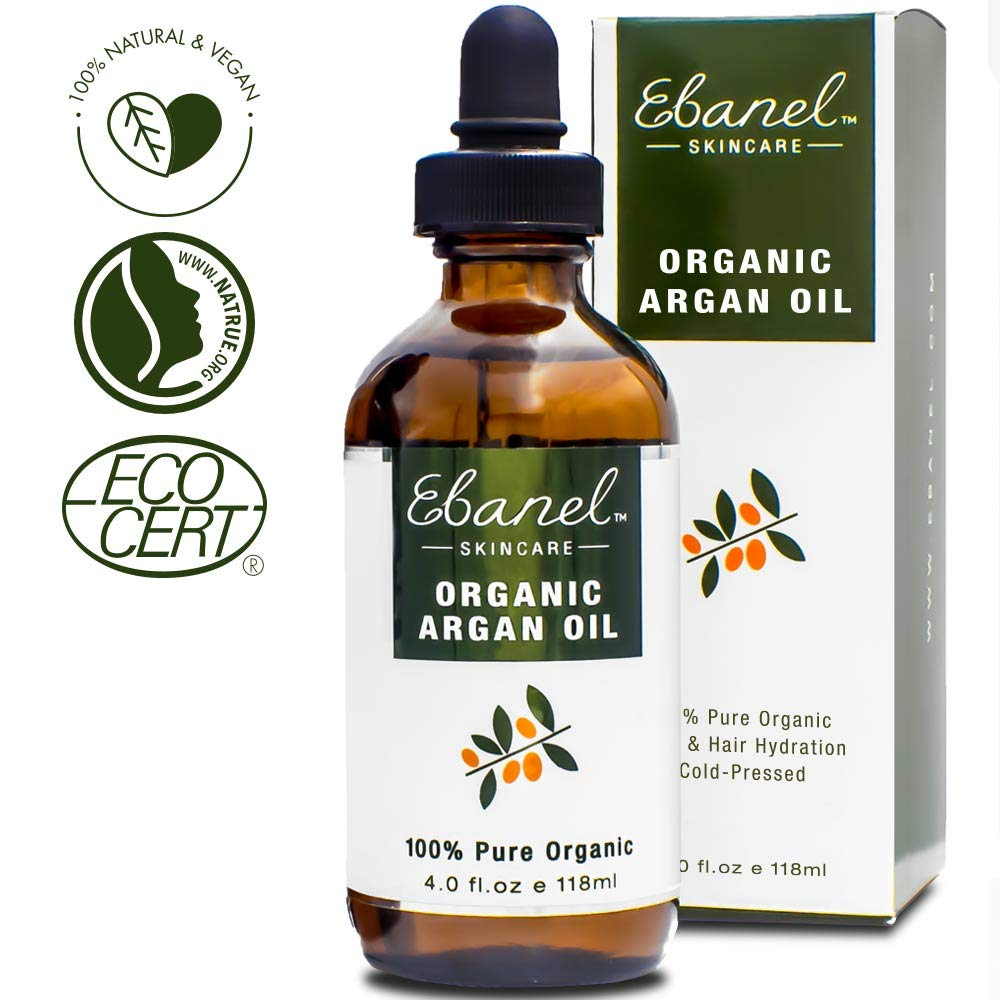 Ebanel 4oz/118ml Organic Moroccan Argan Oil, 100% Pure Natural Cold Pressed Hair Oil and Face Skin Moisturizer for Dry Frizzy Hair, Anti-Aging, Skin Hydration Non-Oily Treatment for Men & Women