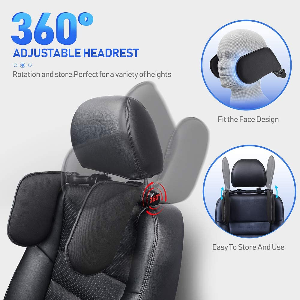 for Children and Adults Mesh Fabric Head Support Pillow with Telescopic Bar and Slidable Clips EASY EAGLE Car Seat Lateral Headrest Black