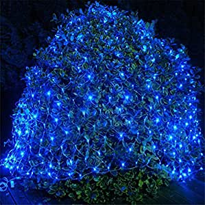 FFJTS Outdoor 8 Modes Effect Droplets Multi Function Xmas Tree Decoration Net light Festival Super Bright Fairy Net light?Blue? , 810
