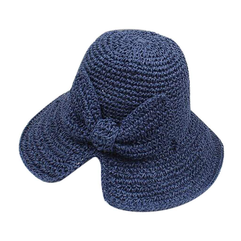 TUDUZ Mujer Sombrero Bowknot Sombrero De Paja Raya Floppy Pliegue ...