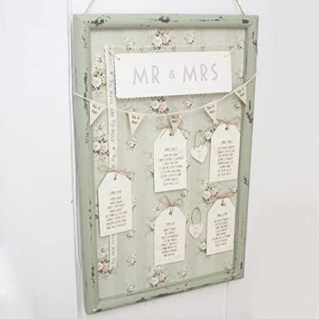 Vintage Style Green Floral Frame for Wedding Table Plan - Unique ...