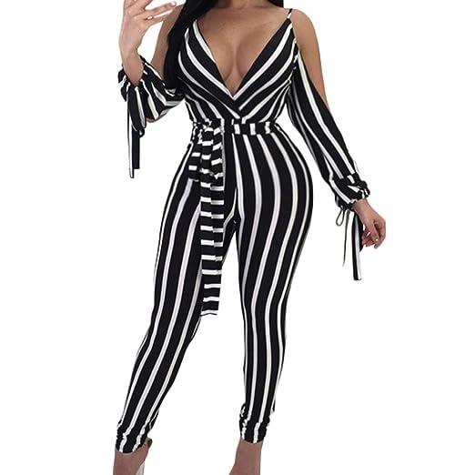 2517bfd03c66 Amazon.com  PHOTNO Women Striped Jumpsuit Bodysuit