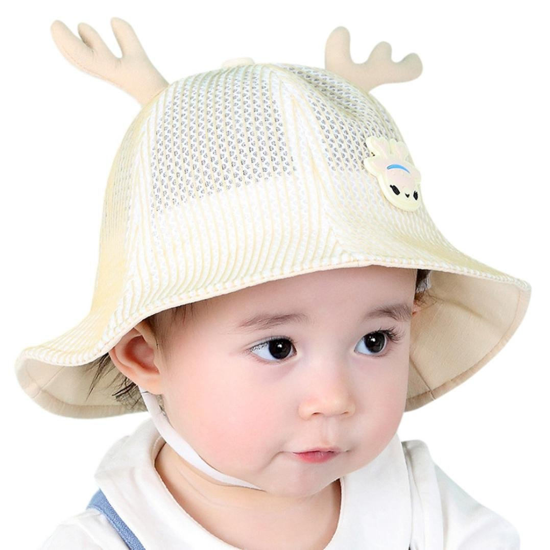 WARMSHOP Toddler Baby 50+ UPF Cartoon Deerhorn Sunhat Adjustable Mesh Breathable with Chin Strap Uv Sun Protective Fisherman Hat (Yellow)