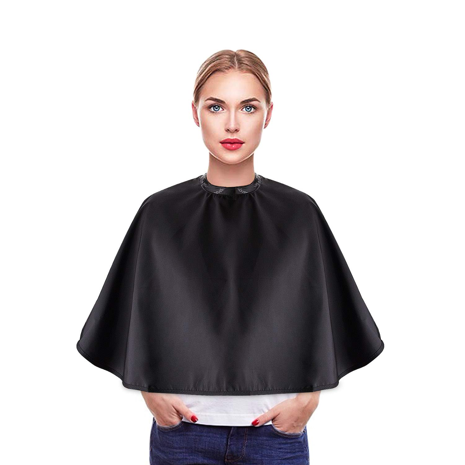 Noverlife Black Makeup Cape, Chemical & Water Proof Beauty Salon Shorty Smock for Clients, Lightweight Comb-out Beard Apron Shortie Makeup Bib Styling Shampoo Cape for Makeup Artist Beautician