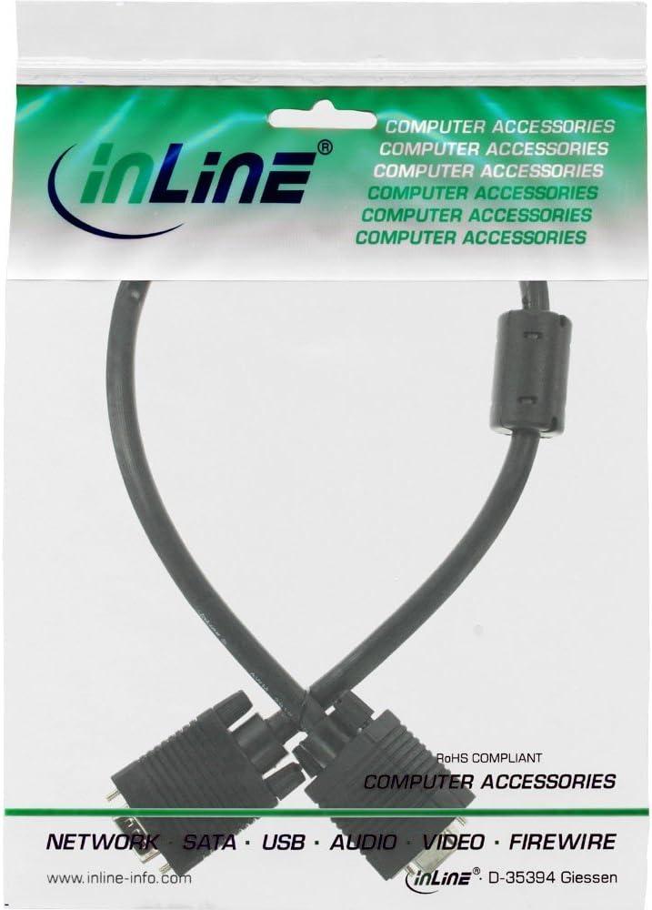 D-Sub InLine 17805B cable VGA 0,5 m VGA 0,5 m, VGA , Negro, Male connector//Male connector Cables VGA D-Sub VGA D-Sub Negro