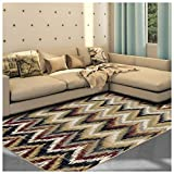 Superior Zigzag Collection Area Rug, 8mm Pile Height with Jute Backing, Designer Inspired Ikat Chevron Pattern, Fashionable and Affordable Woven Rugs, 4′ x 6′ Rug, Red Review