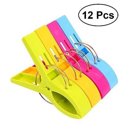 OUNONA 12pcs Plástico Toalla Clips Color Brillante Silla Clips Jumbo Tamaño para Tumbona Piscina