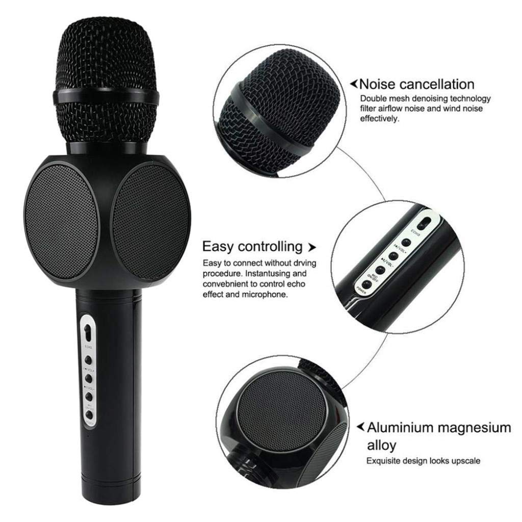 Wireless Microphone Condenser Karaoke Mic KTV Music Bluetooth Speaker Compatible with Android and iOS for Singging, Karaoke, Recording ( Color : Black ) by Rsiosle (Image #7)
