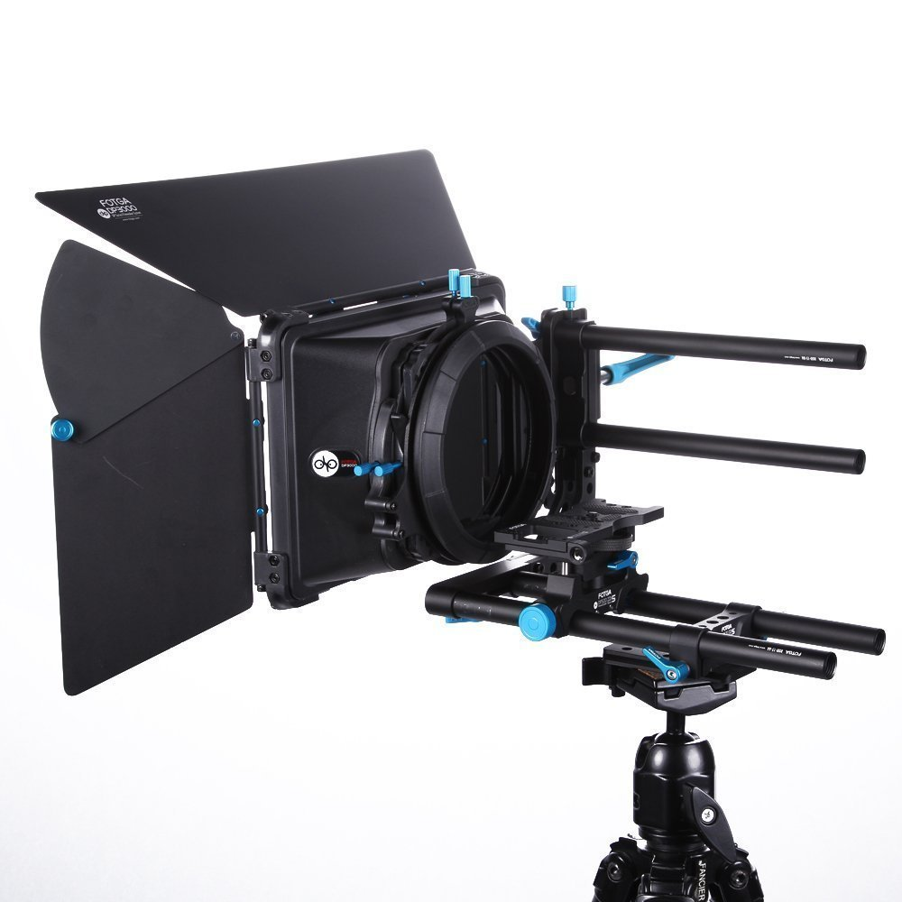Fotga DSLR Rig Set Movie Kit 15mm Rods Rail Rig with Cheese Baseplate + DP3000 M3 Swing Away Matte Box for DSLR Camera Video Camcorder DB636