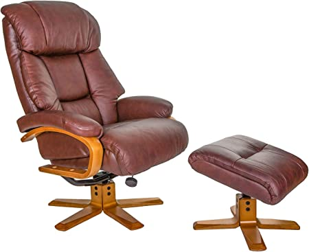 GFA The Nice Swivel Recliner Chair And Matching Footstool In Chestnut Genuine Leather